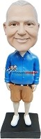 Custom Bobble Head | Long Sleeves And Shorts Male Bobblehead | Gift For Men