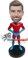 Custom Bobble Head | Red And Blue Superhero Man Bobblehead | Gift For Men