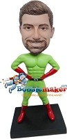 Custom Bobble Head | Green And Red Male Superhero Bobblehead | Gift For Men