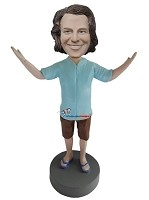 Custom Bobble Head | Arms Up Casual Male Bobblehead | Gift For Men