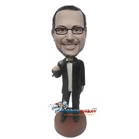 Custom Bobble Head | Tuxedo Man With Microphone Bobblehead | Gift Ideas For Men