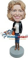 Custom Bobble Head | Fashion Girl With Coffee Bobblehead | Gift Ideas For Women