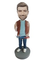 Custom Bobble Head | Casual Male In Vest Bobblehead | Gift For Men