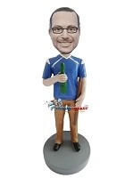 Custom Bobble Head | Football Jersey Casual Male Bobblehead | Gift For Men