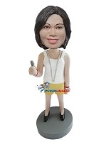 Custom Bobble Head | Woman With Long Necklace Bobblehead | Gift Ideas For Women