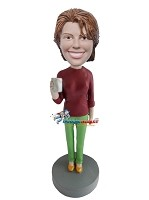Custom Bobble Head | Female Holding Coffee Cup Bobblehead | Gift Ideas For Women