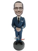 Custom Bobble Head | Male Airline Pilot Bobblehead | Gift Ideas For Men
