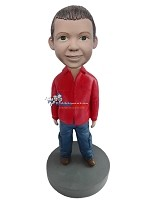 Custom Bobble Head | Red Jacket Boy Bobblehead | Gift For Men