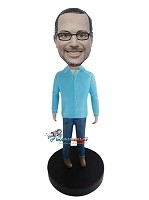 Custom Bobble Head | Shirt And Jeans Man Bobblehead | Gift For Men