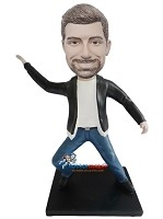Custom Bobble Head | Man In Lear Jacket Dancing Bobblehead | Gift Ideas For Men