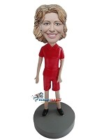 All Red Casual Female bobblehead Doll