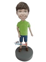 Custom Bobble Head | Casual Boy In Green Polo Bobblehead | Gift For Men