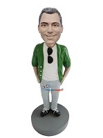 Custom Bobble Head | Casual Male With Sunglasses Bobblehead | Gift For Men