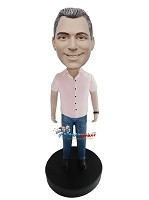 Custom Bobble Head | Pink Shirt Casual Male Bobblehead | Gift For Men