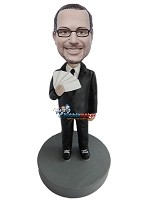 Custom Bobble Head | Man In Suit With Poker Hand Bobblehead | Gift Ideas For Men