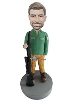 Custom Bobble Head | Park Ranger With Gun Bobblehead | Gift Ideas For Men