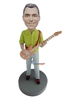 Custom Bobble Head | Green Shirt Male Guitarist Bobblehead | Gift For Men