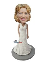 Custom Bobble Head | Simple Wedding Dress Bride Bobblehead | Gift Ideas For Women