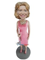 Custom Bobble Head | Female Singer In Pink Dress Bobblehead | Gift Ideas For Women