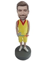 Custom Bobble Head | Basketball Player Man In Yellow And Red Bobblehead | Gift Ideas For Men