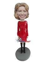 Custom Bobble Head | Red Dress And Boots Executive Female Bobblehead | Gift Ideas For Women