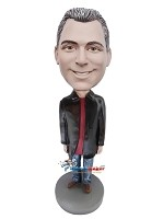 Custom Bobble Head | Long Black Jacket Casual Male Bobblehead | Gift For Men