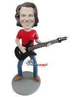 Custom Bobble Head | Rocking Bass Player Man Bobblehead | Gift For Men