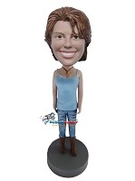 Custom Bobble Head | Tank Top And Boots Female Bobblehead | Gift Ideas For Women