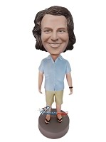 Custom Bobble Head | Shirt And Shorts Casual Male Bobblehead | Gift For Men