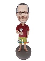 Custom Bobble Head | Summer Man With Martini Bobblehead | Gift For Men