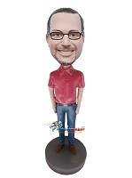 Custom Bobble Head | Red Polo Shirt Male Bobblehead | Gift For Men