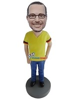Custom Bobble Head | German T-Shirt Man Bobblehead | Gift For Men