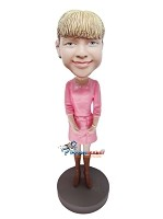 Custom Bobble Head | Pink Dress And Boots Female Bobblehead | Gift Ideas For Women