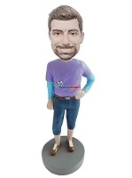 Custom Bobble Head | Feminine Pose And Clos Male Bobblehead | Gift For Men