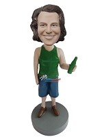 Custom Bobble Head | Tank Top Man With Beer Bobblehead | Gift For Men