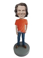 Custom Bobble Head | Orange T-Shirt Casual Male Bobblehead | Gift For Men