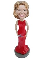 Long Red Dress Female Custm bobblehead Doll