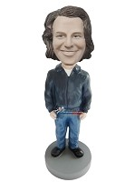 Custom Bobble Head | Lear Jacket Man Bobblehead | Gift For Men