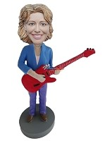 Custom Bobble Head | Woman With Electric Guitar Bobblehead | Gift Ideas For Women