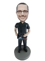 Custom Bobble Head | Security Guard Male Bobblehead | Gift Ideas For Men
