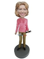 Custom Bobble Head | Woman With Microphone Bobblehead | Gift For Women