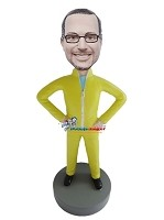 Custom Bobble Head | Casual Male In Jump Suit Bobblehead | Gift For Men