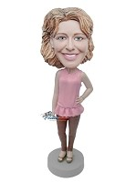 Custom Bobble Head | Casual Female In Dress And Tights Bobblehead | Gift Ideas For Women