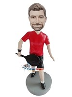 Custom Bobble Head | T-Shirt Tennis Player Man Bobblehead | Gift Ideas For Men