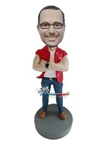 Custom Bobble Head | Man In Muscle Shirt Bobblehead | Gift For Men
