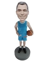 Custom Bobble Head | Blue Uniform Basketball Player Bobblehead | Gift Ideas For Men