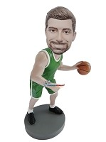 Custom Bobble Head | Green Uniform Basketball Player Bobblehead | Gift Ideas For Men