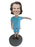 Custom Bobble Head | All Blue V-Neck Shirt Man Bobblehead | Gift For Men