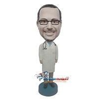Custom Bobble Head | Doctor In Closed Lab Coat Bobblehead | Gift Ideas For Men