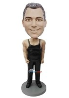 Custom Bobble Head | Man In Black Wrestler Uniform Bobblehead | Gift Ideas For Men